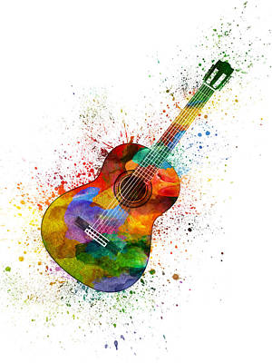 Music Paintings - Colorful Acoustic Guitar 02 by Aged Pixel