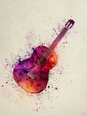 Music Studio Painting - Colorful Acoustic Guitar 03 by Aged Pixel