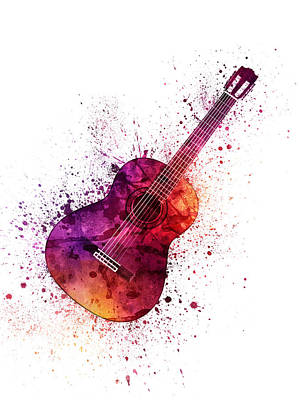 Music Paintings - Colorful Acoustic Guitar 04 by Aged Pixel