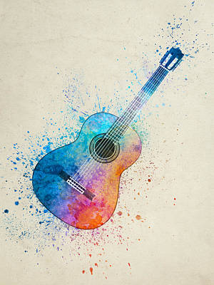 Music Paintings - Colorful Acoustic Guitar 05 by Aged Pixel