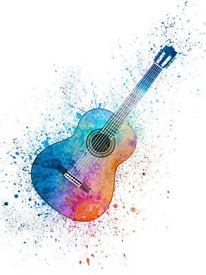 Music Studio Painting - Colorful Acoustic Guitar 06 by Aged Pixel