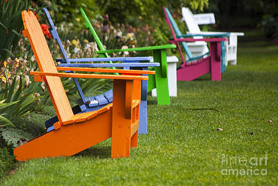 Staff Picks Judy Bernier Rights Managed Images - Colorful Adirondack Chairs Royalty-Free Image by Mandy Judson