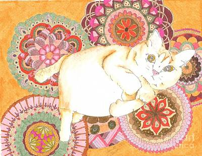 Wall Art - Mixed Media - Colorful Adorable Cat by Jeanette Clawson