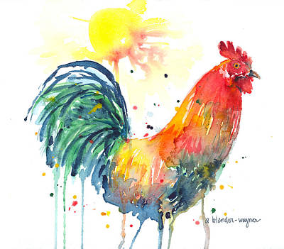 Rooster Wall Art - Painting - Colorful Alarm Clock by Arline Wagner