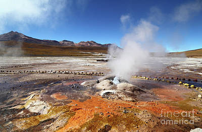 Colorful Algae And Geyser At El Tatio Chile Art Print by James Brunker