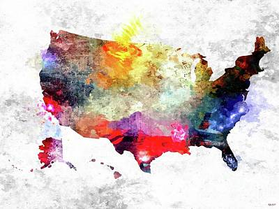 America The Continent Mixed Media - Colorful America Map by Daniel Janda