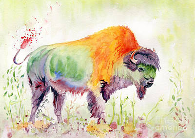Painting - Colorful American Buffalo by Melly Terpening