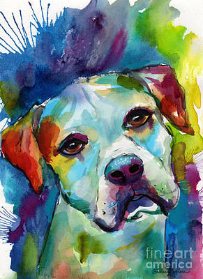 Colorful American Bulldog Dog Art Print