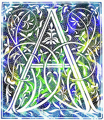 Mixed Media - Colorful Ancient Alphabet Letter A by Georgiana Romanovna
