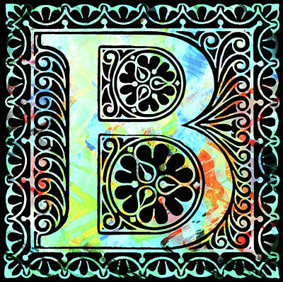 Mixed Media - Colorful Ancient Alphabet Letter B Black by Georgiana Romanovna