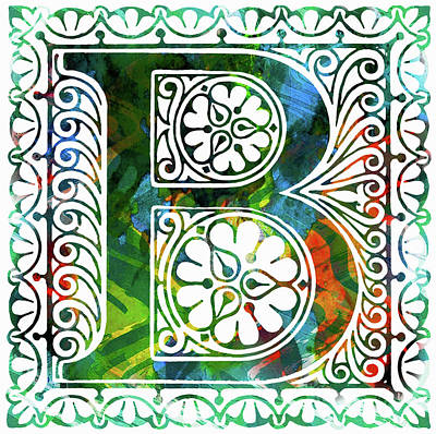 Mixed Media - Colorful Ancient Alphabet Letter B by Georgiana Romanovna