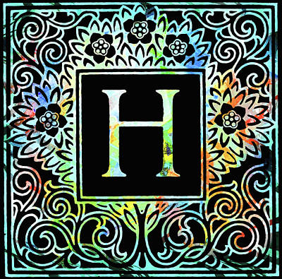 Mixed Media - Colorful Ancient Alphabet Letter Black H by Georgiana Romanovna