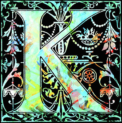 Mixed Media - Colorful Ancient Alphabet Letter Black K by Georgiana Romanovna