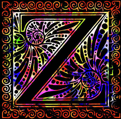 Mixed Media - Colorful Ancient Alphabet Letter Black Z by Georgiana Romanovna