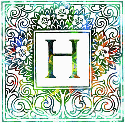 Mixed Media - Colorful Ancient Alphabet Letter H by Georgiana Romanovna