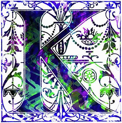 Mixed Media - Colorful Ancient Alphabet Letter K by Georgiana Romanovna