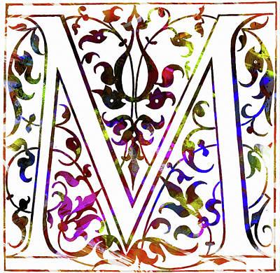 Mixed Media - Colorful Ancient Alphabet Letter M by Georgiana Romanovna