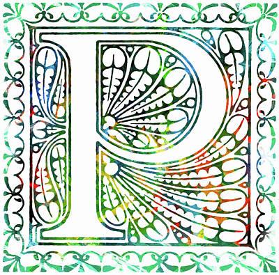 Mixed Media - Colorful Ancient Alphabet Letter P by Georgiana Romanovna