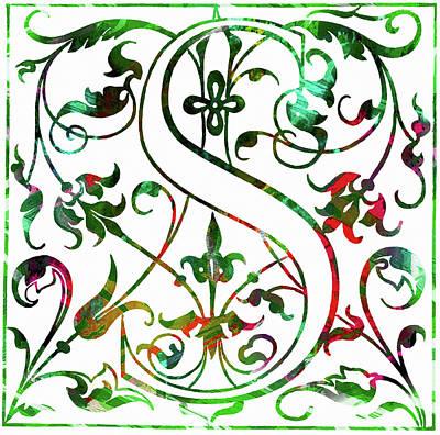 Mixed Media - Colorful Ancient Alphabet Letter S by Georgiana Romanovna