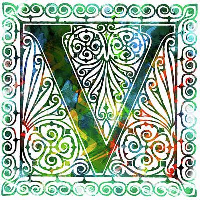 Mixed Media - Colorful Ancient Alphabet Letter V by Georgiana Romanovna