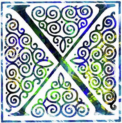 Mixed Media - Colorful Ancient Alphabet Letter X by Georgiana Romanovna