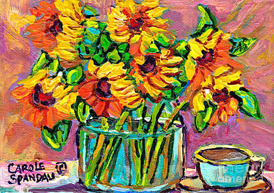 Painting - Colorful And Vibrant Sunflowers In Glass Vase With Cup Colorful Original Painting By Carole Spandau by Carole Spandau