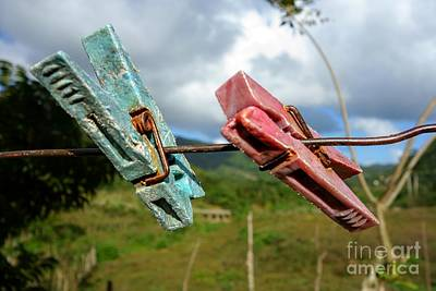 Colorful And Worn Clothespin On A Copper Wire In Cuba  Art Print by Mikko Palonkorpi