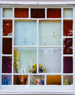 Photograph - Colorful Antique Stain Glass Window by Lita Kelley