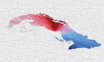 Painting - Colorful Art Cuba Map Blue, Red And White by Saribelle Rodriguez