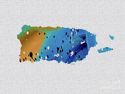 Puerto Rico Painting - Colorful Art Puerto Rico Map Blue And Brown by Saribelle Rodriguez