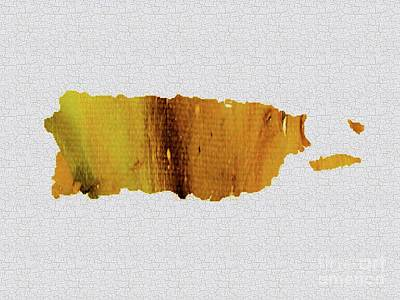 Painting - Colorful Art Puerto Rico Map Yellow Brown by Saribelle Rodriguez