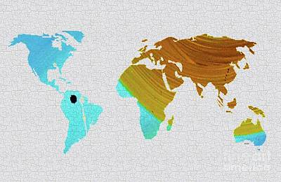 Painting - Colorful Art World Map Illustration Blue And Brown by Saribelle Rodriguez