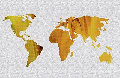 Painting - Colorful Art World Map Illustration Yellow Brown by Saribelle Rodriguez