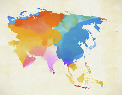 Painting - Colorful Asia Map by Dan Sproul