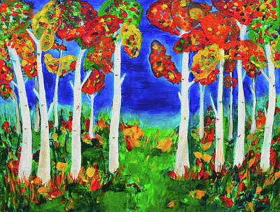 Painting - Colorful Aspen Forest by Haleh Mahbod