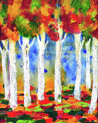 Painting - Colorful Aspen Trees View by Haleh Mahbod