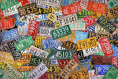 Mixed Media - Colorful Assorted Vintage License Plates From All 50 States by Design Turnpike