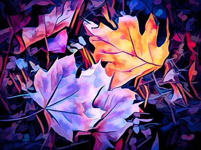 Maple Leaf Art Mixed Media - Colorful Autumn by Debra Lynch