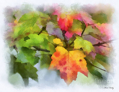 Photograph - Colorful Autumn Leaves - Digital Watercolor by Kerri Farley