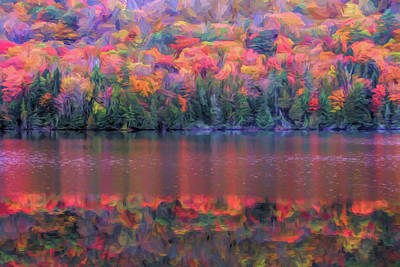 Painting - Colorful Autumn Reflections On Pond by Dan Sproul