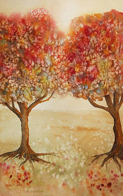 Colorful Autumn Twin Trees Art Print by Kerri Ligatich