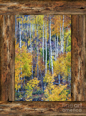 Photograph - Colorful Auumn Forest Rustic Cabin Window Portrait View  by James BO Insogna