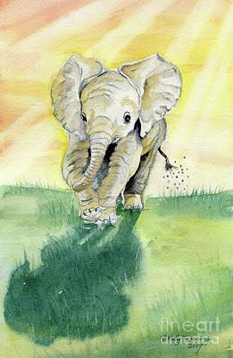 Painting - Colorful Baby Elephant by Melly Terpening