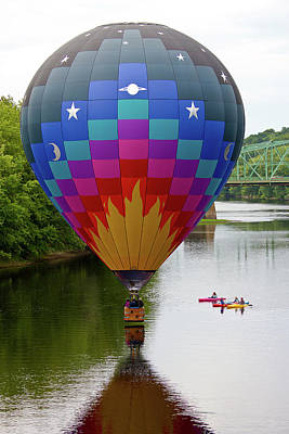 Photograph - Colorful Balloon Over River by Ed Fletcher