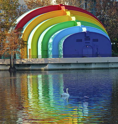 Photograph - Colorful Bandshell And Swan by Denise Mazzocco