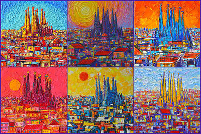 Painting - Colorful Barcelona Sagrada Familia Modern Impressionist Knife Abstract Cities By Ana Maria Edulescu by Ana Maria Edulescu