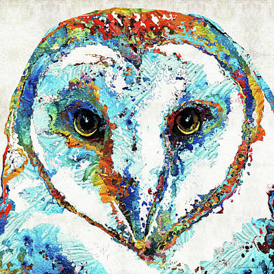 Colored Owl Painting - Colorful Barn Owl Art - Sharon Cummings by Sharon Cummings