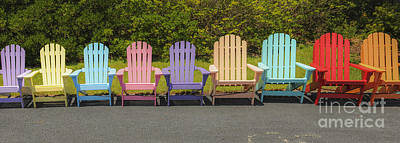 Photograph - Colorful Beach Adirondack Chairs by Dale Powell