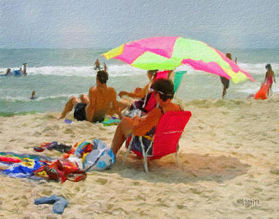 Digital Art - Colorful Beach Scene Summer Day by Rebecca Korpita