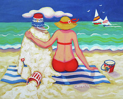 Painting - Colorful Beach Woman Sandman by Rebecca Korpita